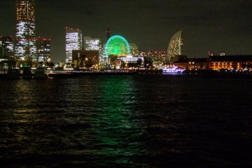 Night view of Minato Mirai's and its three Luxury hotels. From left to right: The Royal Park, The Pan Pacific, The Intercontinental