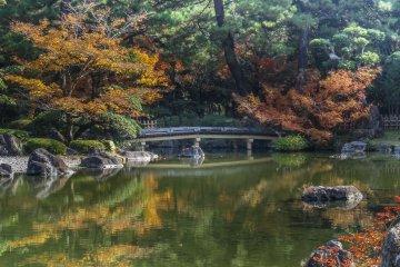 <p>The fall leaves surround the quaint bridge</p>