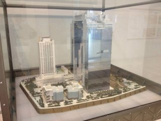 A scale model of the Sky Building and it's surroundings