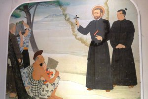 A mural of St Francis Xavier preaching in Japan