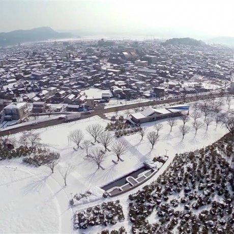 福井: 西山公園雪景色 空撮ビデオ