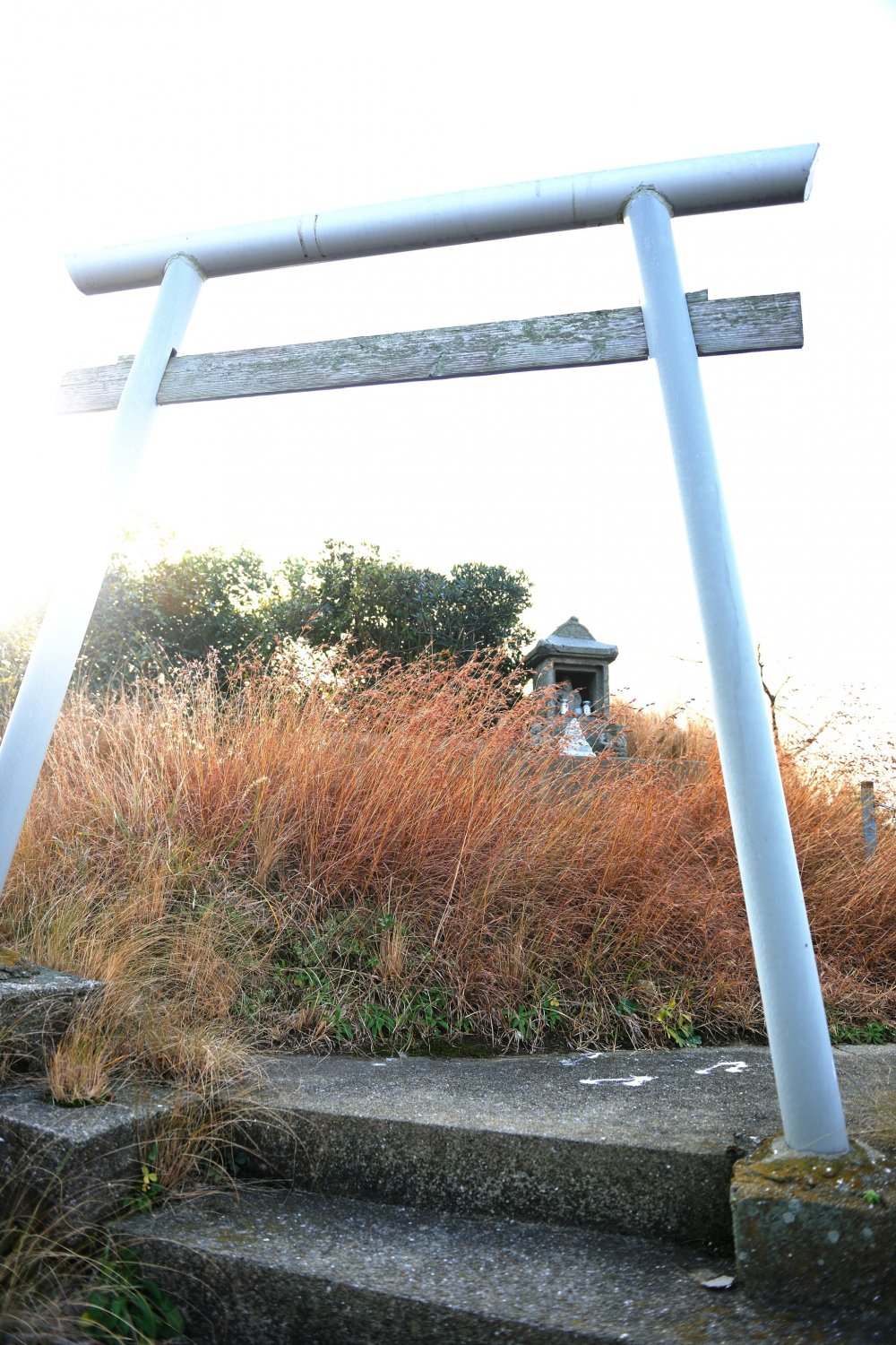 The statue of the Virgin Mary is standing on rock jutting out into the sea. This rock is commonly called 'Donc Rock', and an Ebisu Shrine also stands on this rock.