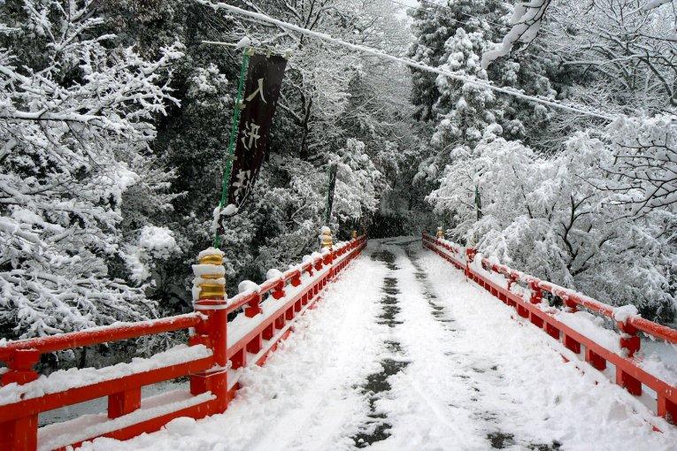 京都山科、本圀寺の雪景色