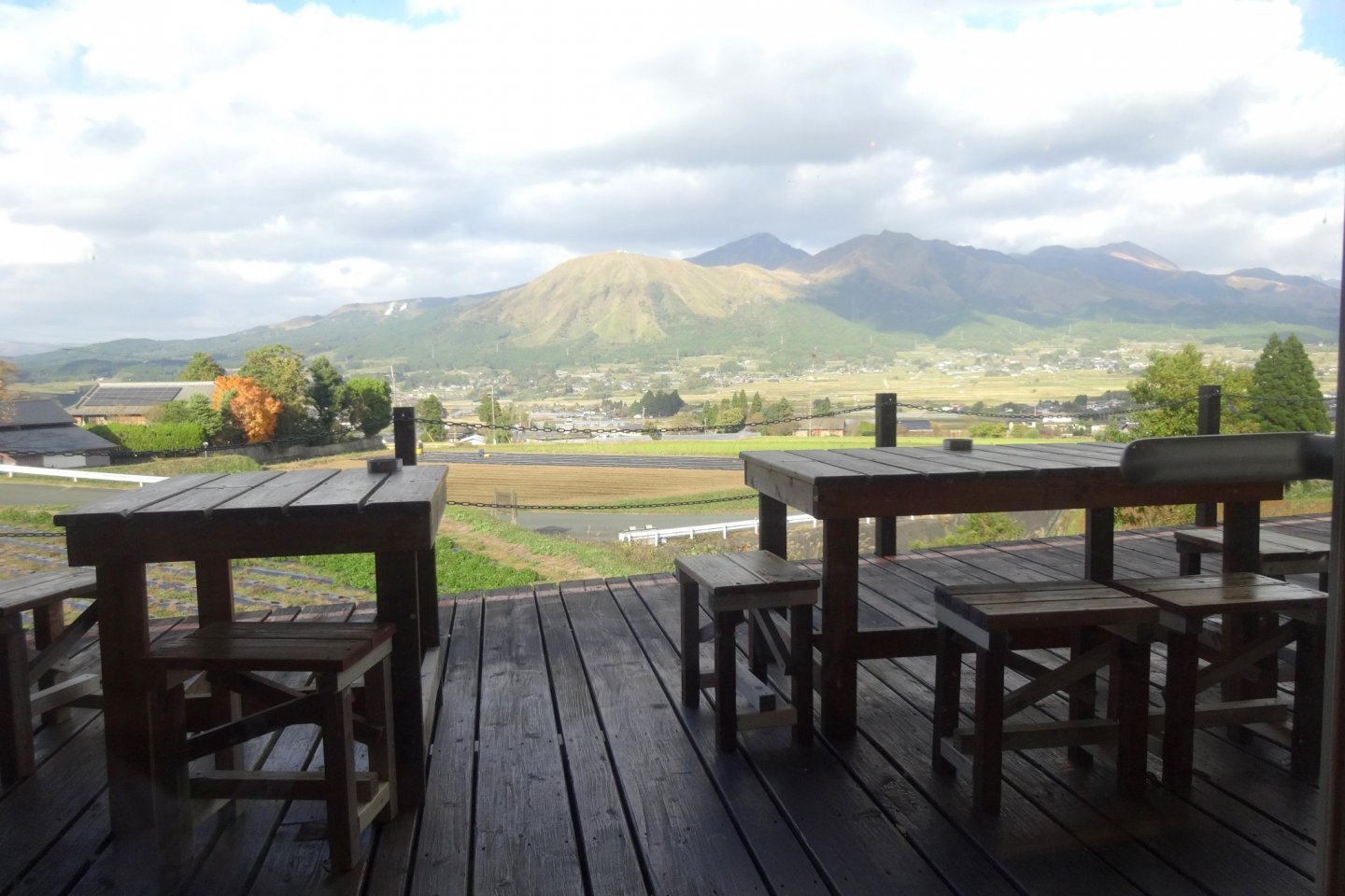 The view from the cafe of Kumamoto's Mt Aso
