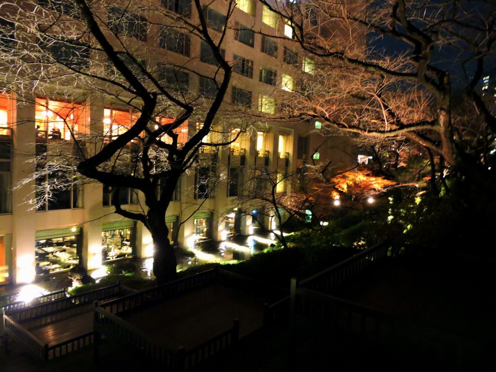 View of Grand Prince Hotel Takanawa seen from a pathway in the garden