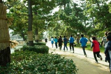 <p>Energetic students run beneath the trees</p>