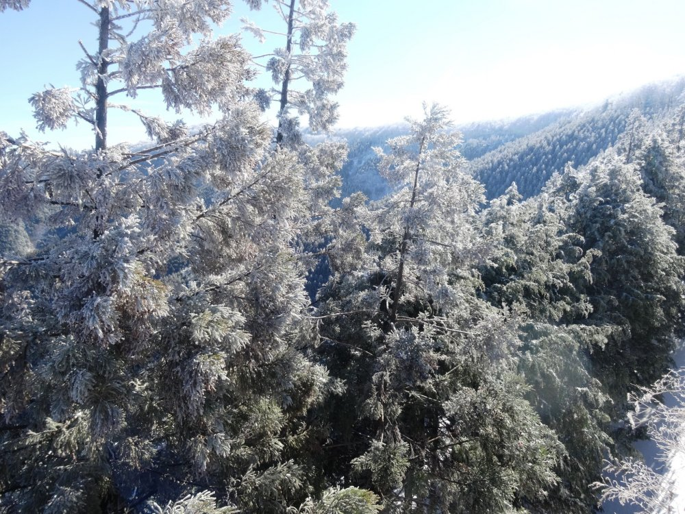 Горы укрыты легким снежным одеялом
