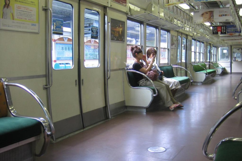 Interior of a Keihan train