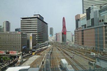 Train tracks stretching through the heart of Umeda