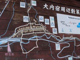 주차장에 있는 지역 지도 (주차비 ¥300)