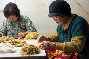 Kotoran dalam kulit tanaman Kouzo dipetik menggunakan tangan