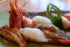 Set menu with sweet shrimp, katsuo and grilled eel on show.