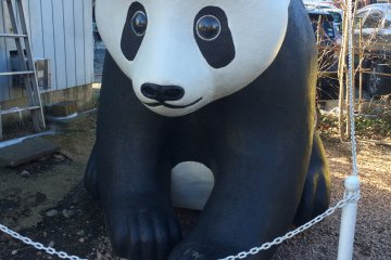 <p>A panda in front of a bakery. Makio Yajima is an artist who specializes in styrofoam art. Her work can be found all around Penny Candy Alley. Try to spot them as you walk around!</p>