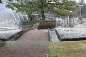 The park next to Kintai bridge is full of beautiful fountains.