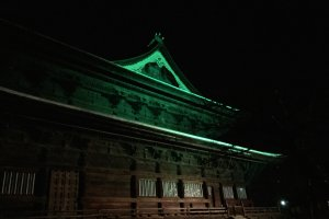 The right side of Zenkoji in green