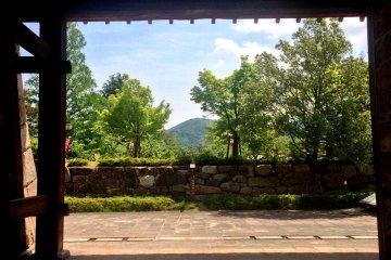 <p>The burrowed view of the distant mountains from the Maizuru Park Gardens</p>