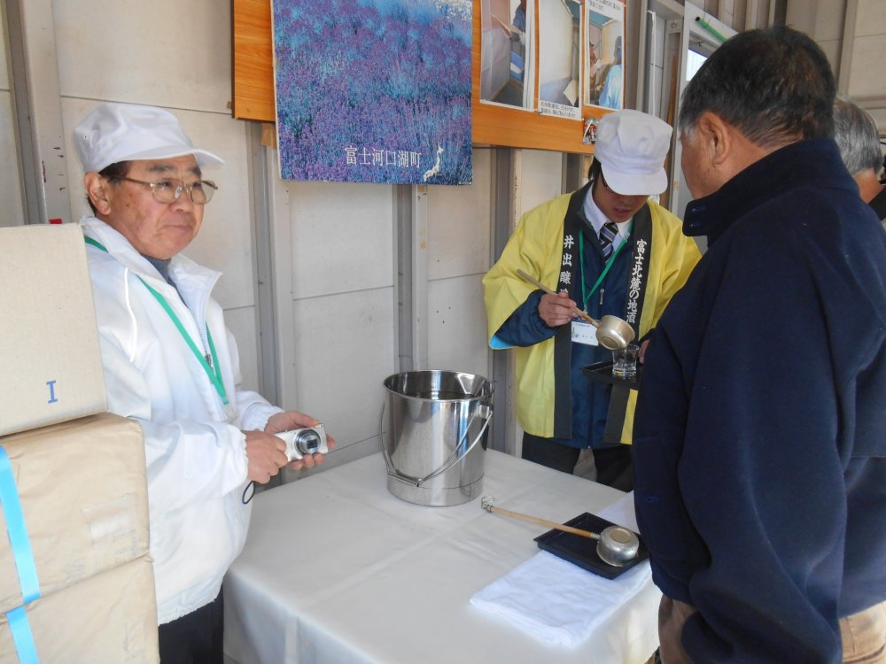 Everyone gets a glass of new vintage sake