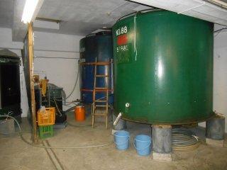 One of the sake brewing tanks