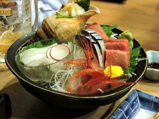 Fresh assortment of sashimi(sliced raw fish)