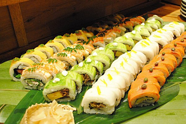 Brightly colored sushi rolls
