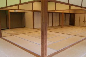 One of the large tatami rooms inside the house that Hara and is family lived in (Kakushokaku)