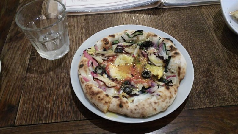 <p>An eat-in exclusive pizza, with 10 seasonal vegetables, capers and rich egg yolk</p>
