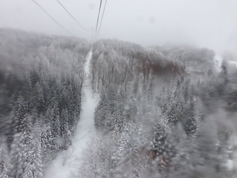 <p>Heading up to the summit in the cable car.</p>