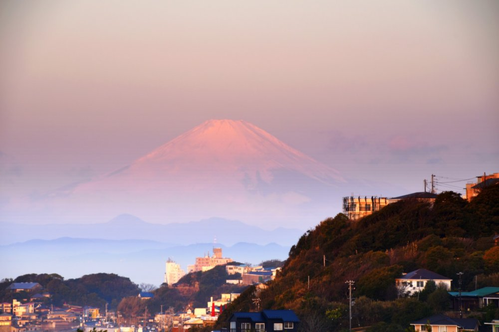 I woke up at six o'clock in the morning, opened the curtains of my window, and guess what I found? A pink Mt. Fuji saying 'Good morning' to me!