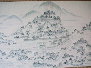 แผนที่โบราณของเมืองยะมะกุชิในวัด