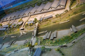 Display at the Shonai Rice Historical Museum. It shows the original setting of the warehouses.