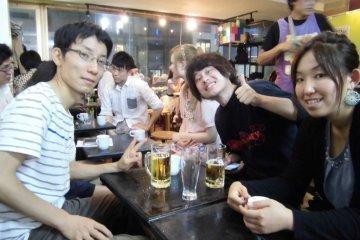 Japanese regulars speaking English together