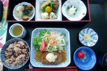 <p>The generous set meal, featuring locally grown vegetables</p>
