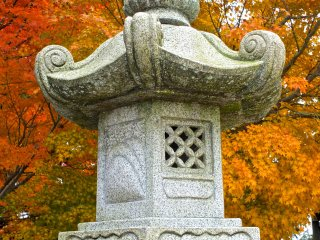 Stone lantern in autumn