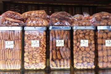 <p>Rice crackers in all shapes and sizes.</p>