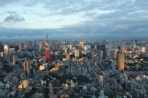 มองเห็นโตเกียวทาวเวอร์สะท้อนแสงอาทิตย์ยามเย็น