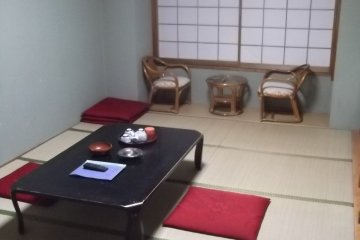 <p>My room seen from the door, with its little table and chairs by the window</p>