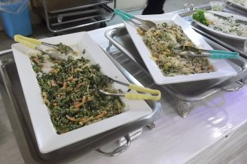 <p>Veggies and noodles on the dinner buffet</p>