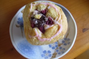Raspberry and chocolate muffin