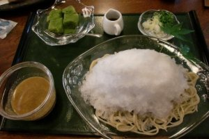 Ice atop local soba 'buckwheat' noodles