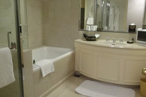 The bathrooms are large and come with a range of L'Occitane bath products