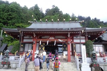 <p>Afuri Shrine marks the halfway point of your climb</p>