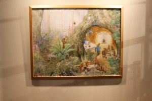 One of many Peter Rabbit style paintings that hang across the walls