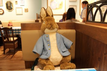 <p>Peter Rabbit placed in front of me when I sat down</p>