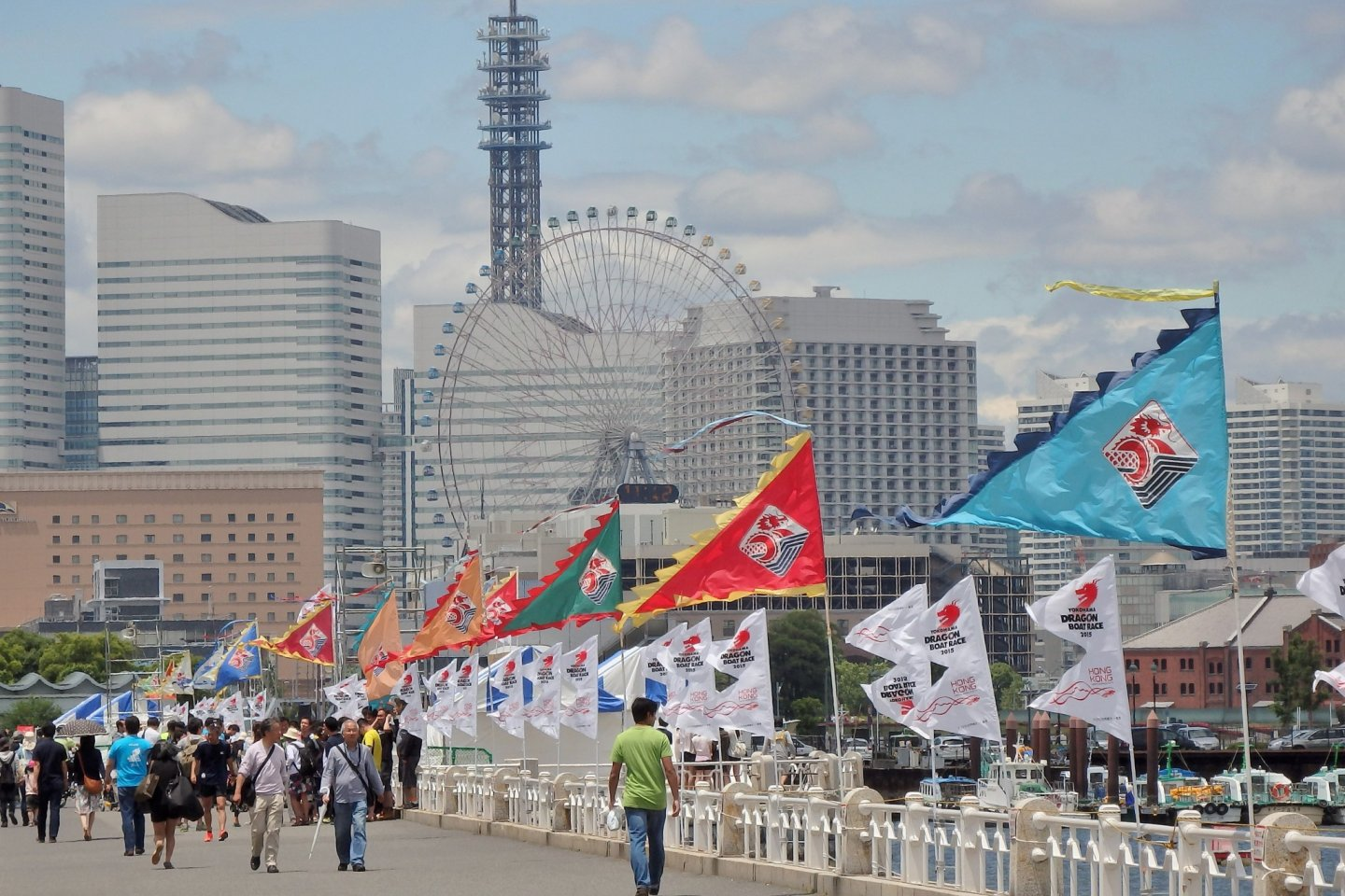 The Yokohama skyline makes a beautiful backdrop for the races.