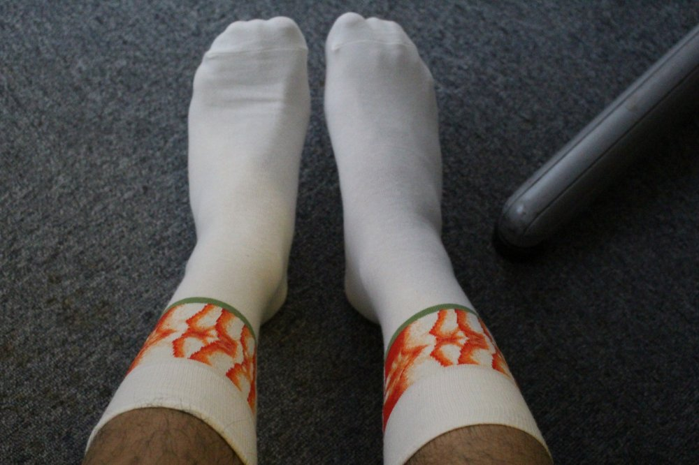 Sushi Socks when worn - cute and comfortable