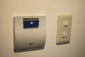 The hotel employs a card system for ease of access and portability.