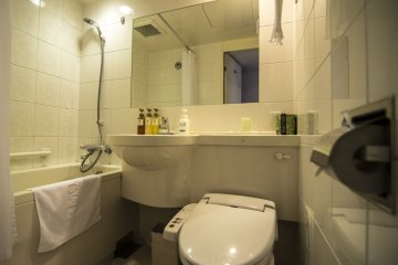 The bathtub is quite spacious and lets you really relax in it.
