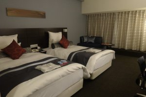 One of the hotel's twin rooms