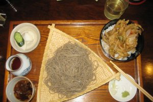cold soba with a side of onion tempura