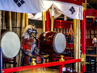 During your lunch, you will be able to enjoy the nice sounds of taiko drums. Two staff members play these huge instruments every day.